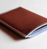eBook Reader Tasche  aus blauem Filz und braunem Büffelleder