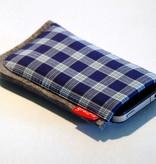 Smartphone Tasche blau kariert