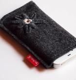 Smartphone Tasche anthrazit mit Edelweiß