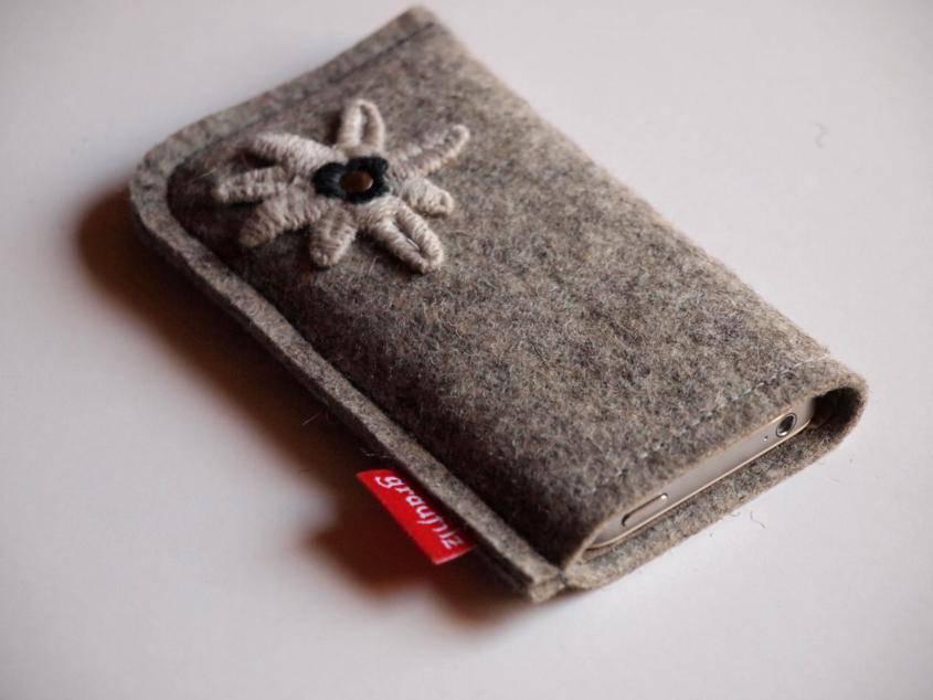 Smartphone Tasche grau natur mit Edelweiß