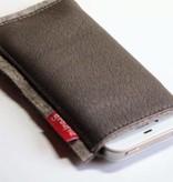 Smartphone Tasche Leder und Filz - schlammfarben