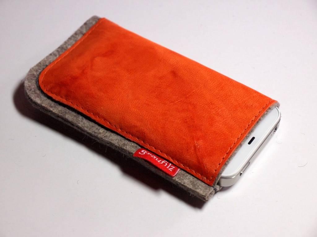 Smartphone - Leder und Filz - papaya