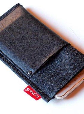 Handytasche - Leder und Filz - anthrazit mit schwarz
