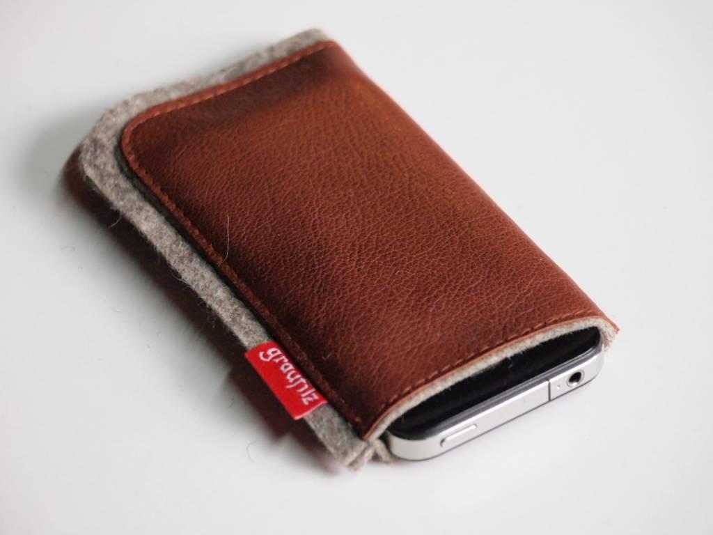 Smartphone - Leder und Filz - rost
