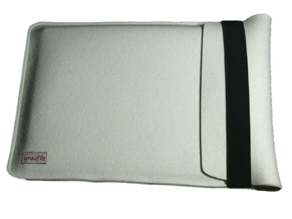 Notebooktasche aus wollweißem Wollfilz
