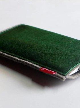 Smartphone Tasche grün mit Verschluß