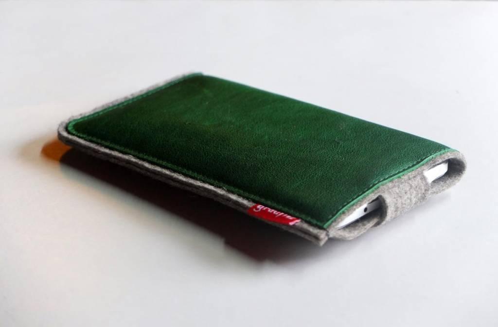 Smartphone Tasche aus grauem Wollfilz - Leder kale  mit Verschluß