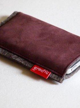 Smartphone Tasche Leder und Filz in bordeaux