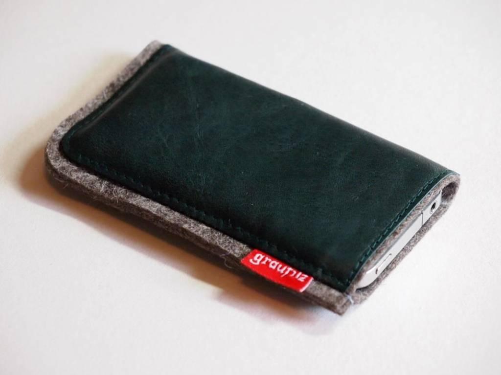 Smartphone Tasche Leder und Filz darkgreen