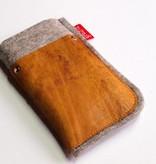 Handytasche - Leder und Filz - honey vintage