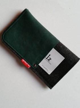 Handytasche - Leder und Filz - racing green