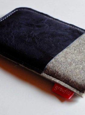 Smartphonetasche mit dunkelblauem Leder