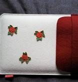 Ipad / Tablet Hülle aus Wollfilz in berry und weiß