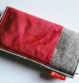 Smartphonetasche mit himbeerfarbenem Leder
