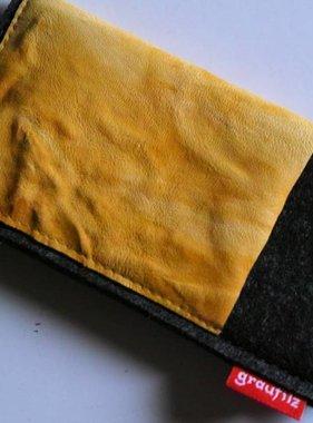 Smartphonetasche mit sonnengelbem Leder