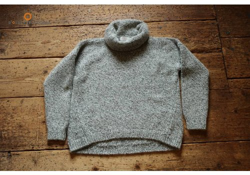 Fisherman out of Ireland Grey Polo Neck swt. With diagonal seam