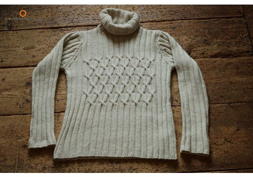 Fisherman out of Ireland Oatmeal Cabled & Ribbed polo neck sweater