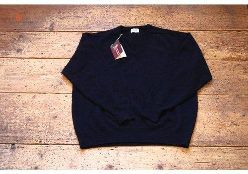 William Lockie Lambswool sweater V-Neck navy