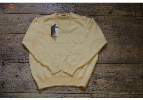 William Lockie Lambswool sweater V-neck Morning Sun