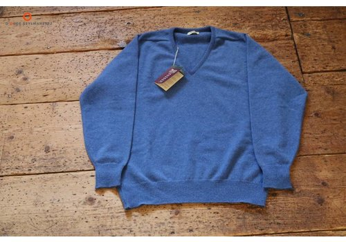 William Lockie Lambswool sweater V-Neck Clyde Blue