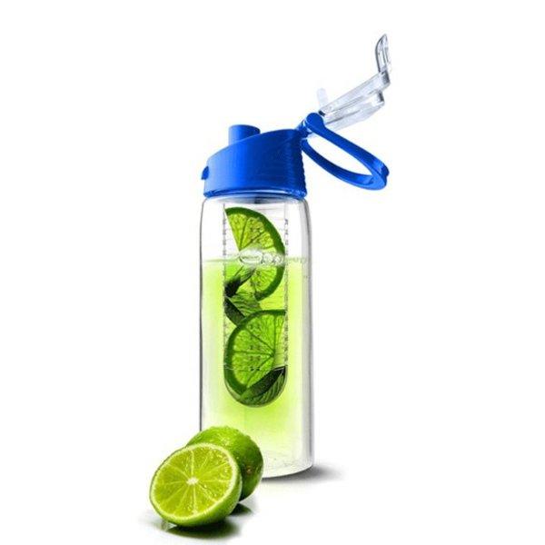 Tritan water infuser fles - Fruit water fles - 0,7 liter - Blauw