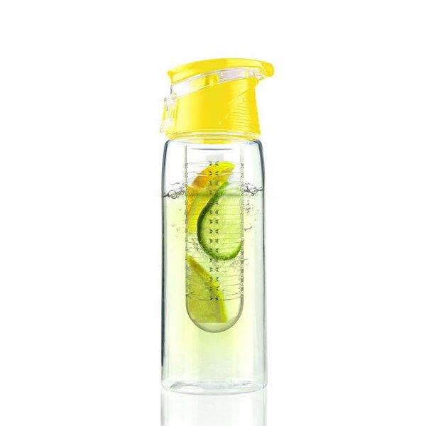 Tritan water infuser fles - Fruit water fles - 0,7 liter - Geel