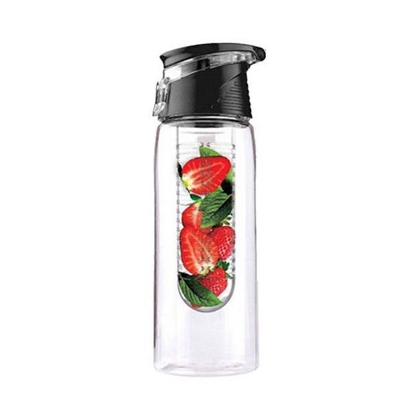 Tritan water infuser fles - Fruit water fles - 0,7 liter - Zwart