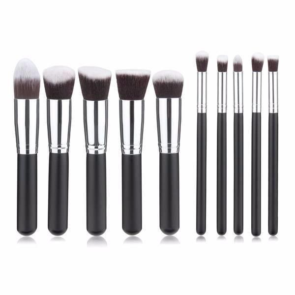 Empaza professionele 10-delige make-up kwasten / brush set - zwart & zilver