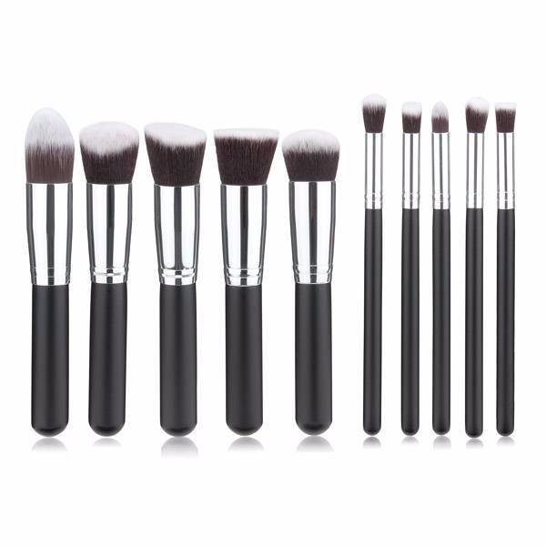 Empaza professionele 10-delige make-up kwasten set - zwart & zilver