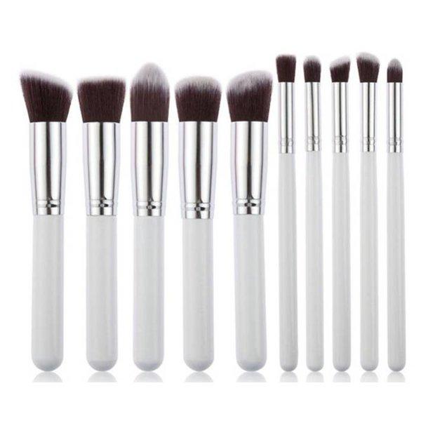 Empaza professionele 10-delige make-up kwasten set - wit & zilver