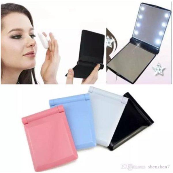 Mini make-up spiegel inklapbaar met LED verlichting