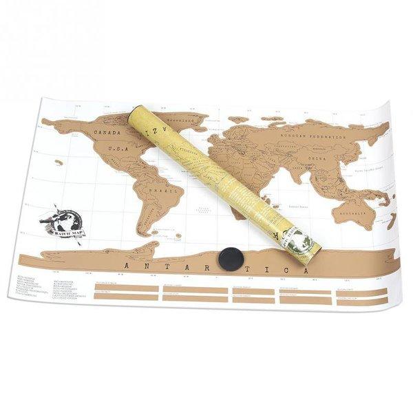 Wereldkaart kraskaart scratch map - 88 x 52 cm - licht