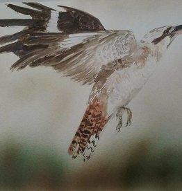 Aquarel Kookaburra vliegend