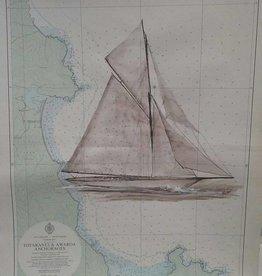 Aquarel Meteor Zeilschip op zeekaart