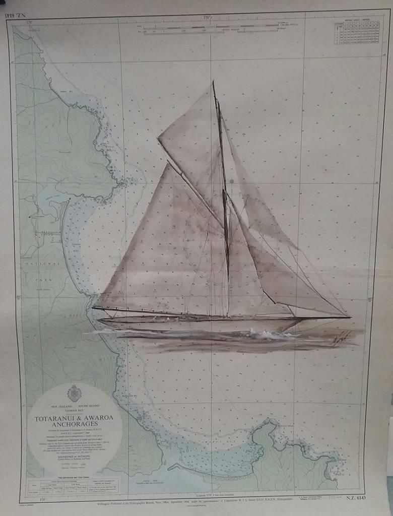 Aquarel Meteor zeilschip geschilderd op een zeekaart
