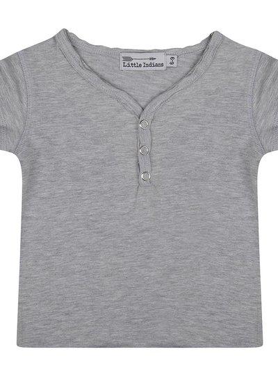 Basic t shirt button neck grey melange