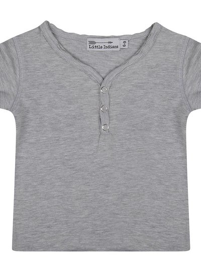 Basic tee button neck grey melange