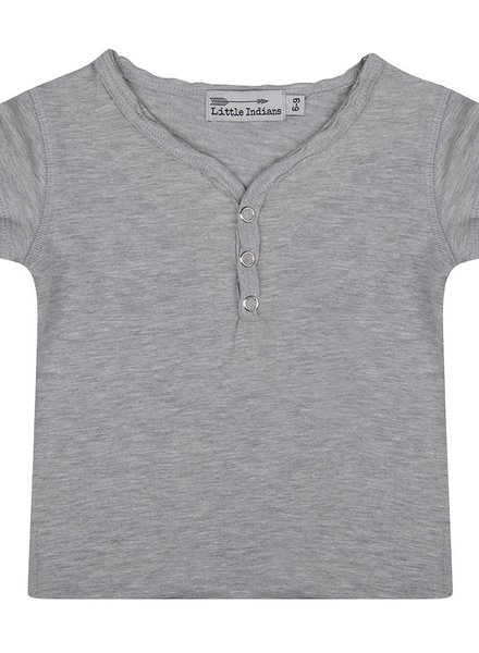 Basic tee button neck grey melange
