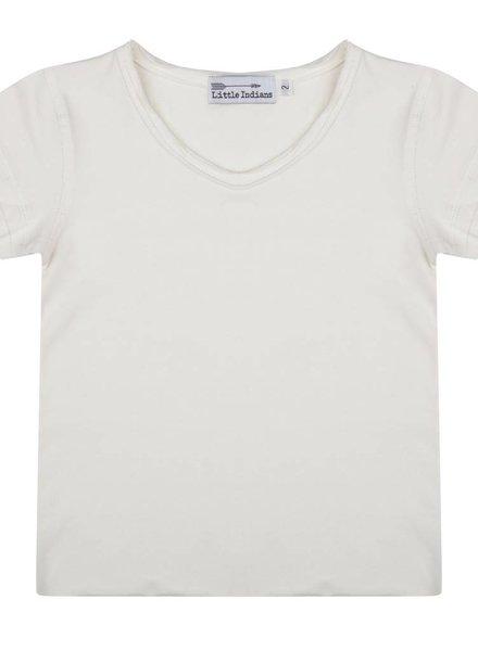 Basic t shirt ecru V-hals