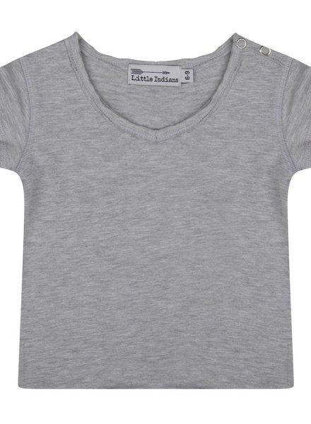 Basic tee v neck grey melange