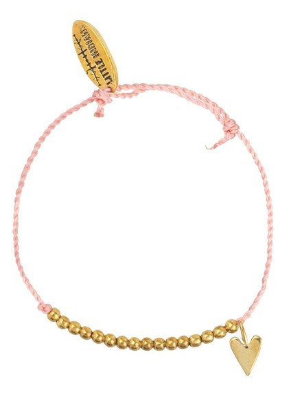 Armband small heart brass kids - Dusty Coral