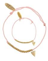 Bracelet SET: small heart brass - Dusty Coral