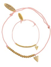 Bracelet SET: small heart brass - Dusty Coral