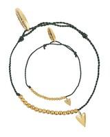Bracelet SET: small heart brass - Soft Green