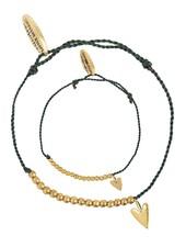 Armbanden SET: small heart brass - Soft Green