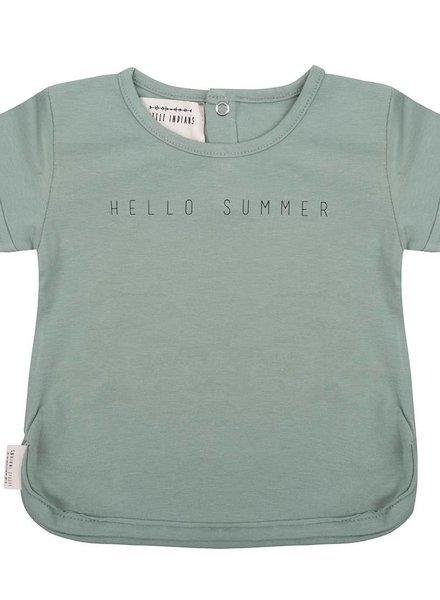 T shirt Hello Summer - Soft Green
