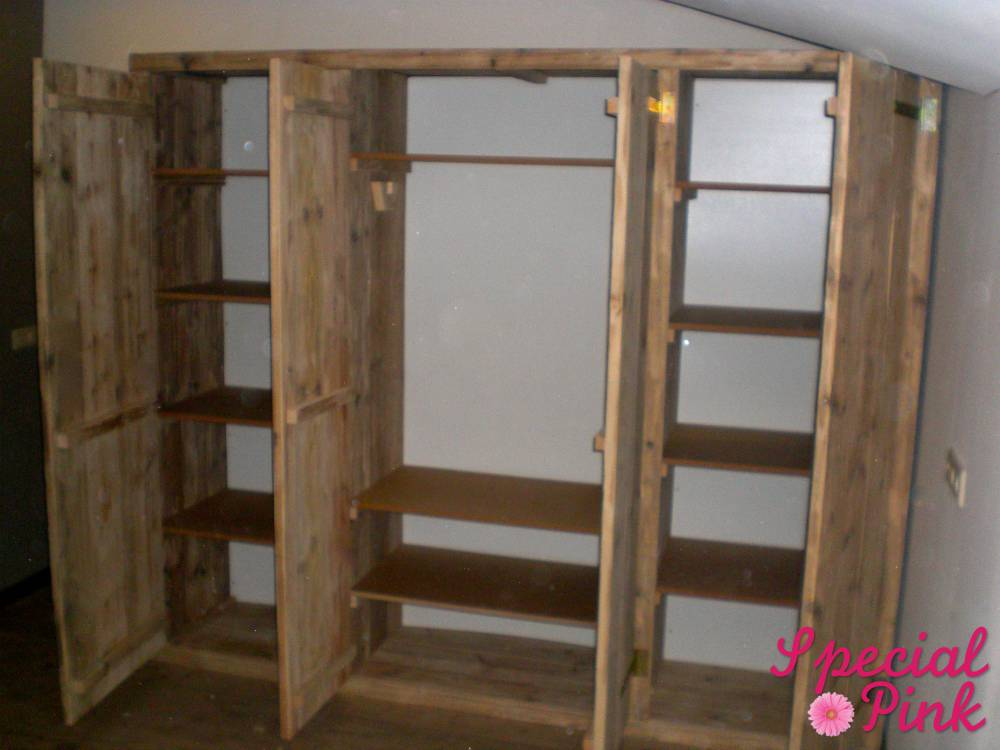 grote kledingkast van steigerhout, voordelig.  special pink, Meubels Ideeën