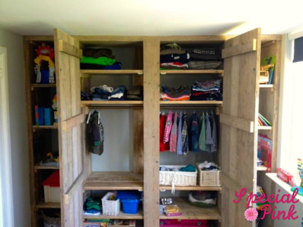 kledingkast met vakken van steigerhout, goedkoop, special pink, Meubels Ideeën