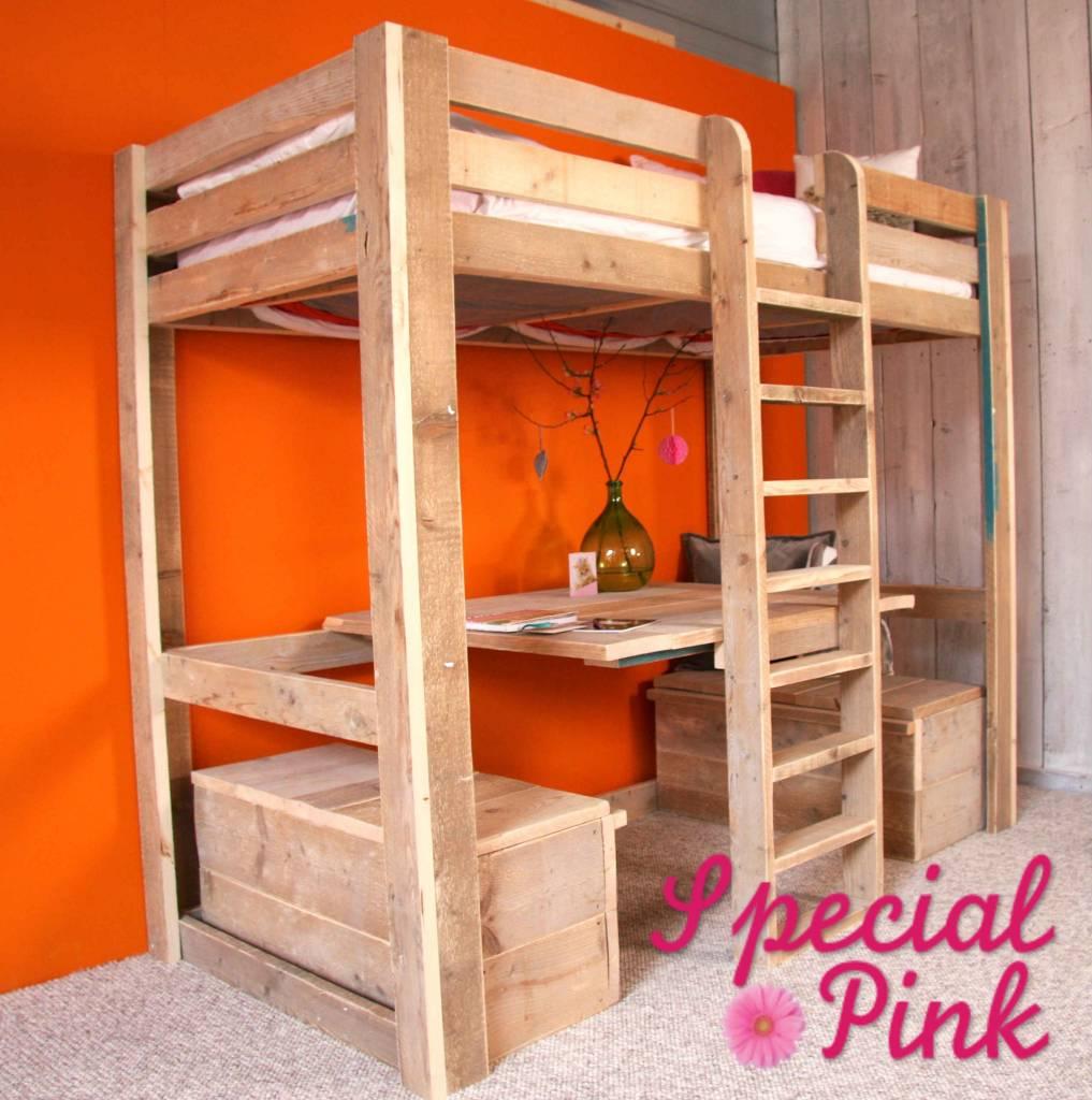 Kinderbedden van steigerhout, te koop bij special pink!   special pink