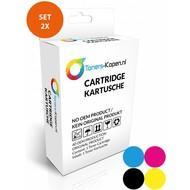 Toners-kopen.nl Huismerk Set 2x inkt cartridge compatible voor HP 62XL zwart C2P05AE, 62XL kleur C2P07AE kleur